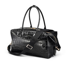 London Travel Bag in Deep Shine Black Soft Croc