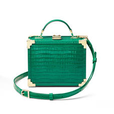 The Trunk in Deep Shine Emerald Green Small Croc