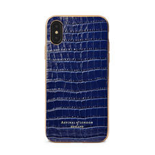 iPhone Xs Case with Gold Edge in Deep Shine Midnight Blue Small Croc