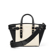 Mini Marylebone Tote in Ivory Saffiano & Smooth Black