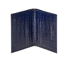 Double Fold Credit Card Holder in Deep Shine Midnight Blue Small Croc
