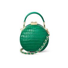 Micro Hat Box in Deep Shine Emerald Green Small Croc