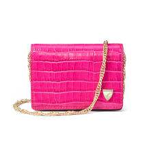 Accordion Card Case with Chain in Deep Shine Penelope Pink Small Croc & Smooth Evergreen