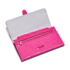 Classic Travel Wallet in Deep Shine Penelope Pink Small Croc