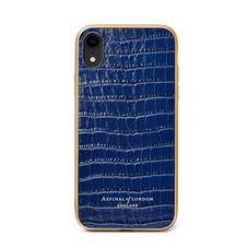 iPhone XR Case with Gold Edge in Deep Shine Midnight Blue Small Croc