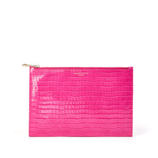Large Essential Flat Pouch in Deep Shine Penelope Pink Small Croc