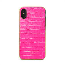iPhone Xs Case with Gold Edge in Deep Shine Penelope Pink Small Croc