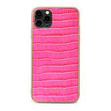iPhone 11 Pro Max Case with Gold Edge in Deep Shine Penelope Pink Small Croc