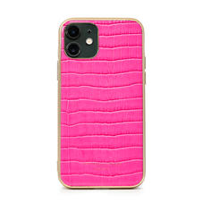 iPhone 11 Case with Gold Edge in Deep Shine Penelope Pink Small Croc