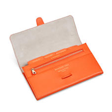 Classic Travel Wallet in Bright Orange Saffiano & Stone Suede