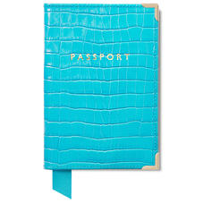 Passport Cover in Deep Shine Aqua Small Croc