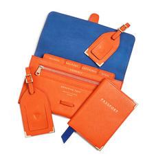 Travel Collection in Bright Orange Saffiano