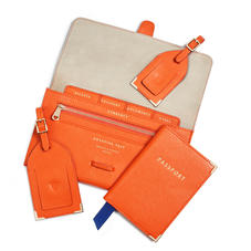 Classic Travel Collection in Bright Orange Saffiano & Stone Suede