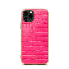 iPhone 11 Pro Case with Gold Edge in Deep Shine Penelope Pink Small Croc