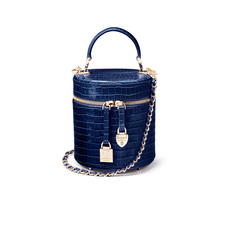 Pandora Bag in Deep Shine Midnight Blue Small Croc