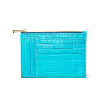 Double Sided Zipped Card & Coin Holder in Deep Shine Aqua Small Croc