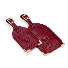 Set of 2 Luggage Tags in Bordeaux Silk Lizard