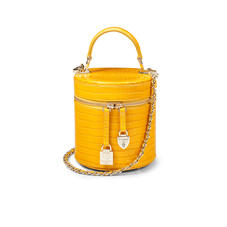 Pandora Bag in Deep Shine Bright Mustard Small Croc