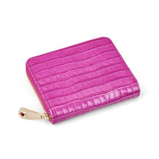 Slim Mini Continental Purse in Deep Shine Hibiscus Small Croc