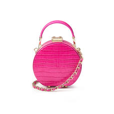 Micro Hat Box in Deep Shine Penelope Pink Small Croc