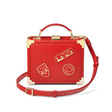 Mini Trunk Clutch in Smooth Scarlet with London Patches