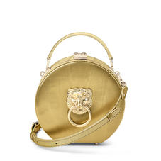 Lion Hat Box in Multi Gold Moire Leather