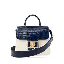 Small Lion Lansdowne Bag in Deep Shine Midnight Blue & Ivory Small Croc