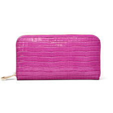 Continental Purse in Deep Shine Hibiscus Small Croc