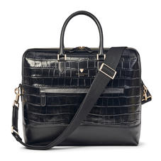 City Structured Briefcase in Black Soft Croc