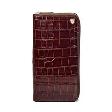 Zipped Travel Wallet in Deep Shine Amazon Brown Croc & Stone Suede