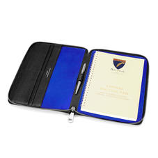 A5 Zipped Padfolio in Black Saffiano & Cobalt Blue Suede