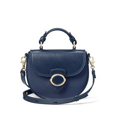 Saddle Bag in Navy Pebble