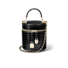 Pandora Bag in Deep Shine Black Small Croc