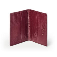 Double Fold Credit Card Holder in Bordeaux Silk Lizard