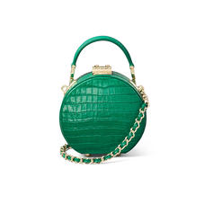 Micro Hat Box in Deep Shine Emerald Green Small Croc