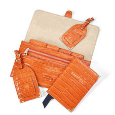 Travel Collection with Removable Inserts in Deep Shine Marmalade Small Croc