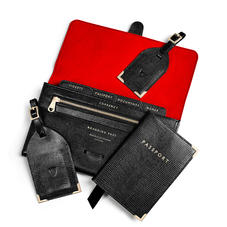 Travel Collection with Removable Inserts in Black Silk Lizard