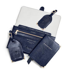 Travel Collection with Removable Inserts in Midnight Blue Silk Lizard