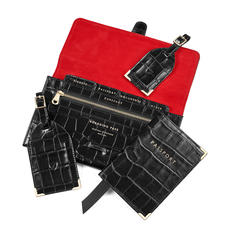 Travel Collection with Removable Inserts in Deep Shine Black Croc