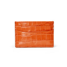 Slim Credit Card Holder in Deep Shine Marmalade Small Croc