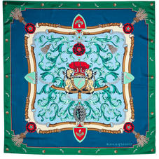 Aspinal Signature Shield Silk Scarf in Petrol Blue & Emerald Green