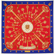 Lion & Key Silk Scarf in Red & Royal Blue