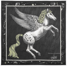 Pegasus Feather Silk Twill Scarf in Monochrome