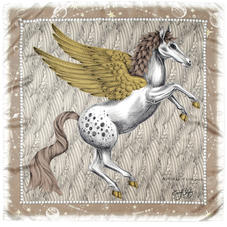Pegasus Feather Silk Twill Scarf in Gold