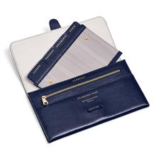 Travel Wallet with Removable Inserts in Midnight Blue Silk Lizard