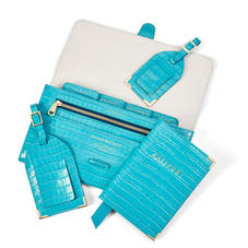 Travel Collection with Removable Inserts in Deep Shine Aqua Small Croc
