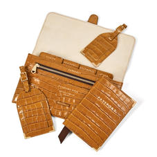 Travel Collection with Removable Inserts in Deep Shine Vintage Tan Small Croc