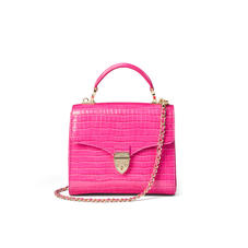 Midi Mayfair Bag in Deep Shine Penelope Pink Small Croc