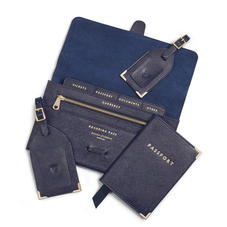 Travel Collection with Removable Inserts in Navy Saffiano