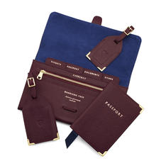 Travel Collection with Removable Inserts in Burgundy Saffiano
